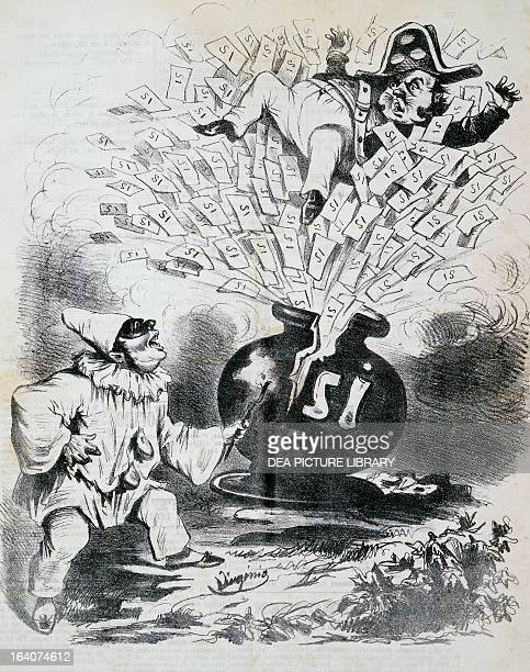Pulcinella and the plebiscite of October 21 which voted for the annexation of the Kingdom of the Two Sicilies to Italy cartoon published by Il...
