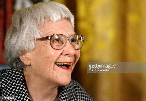 Pulitzer Prize winner and 'To Kill A Mockingbird' author Harper Lee smiles before receiving the 2007 Presidential Medal of Freedom in the East Room...