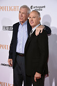 Pulitzer Prizewinning investigative reporter Walter V Robinson and actor Michael Keaton attend the 'Spotlight' New York premiere at Ziegfeld Theater...