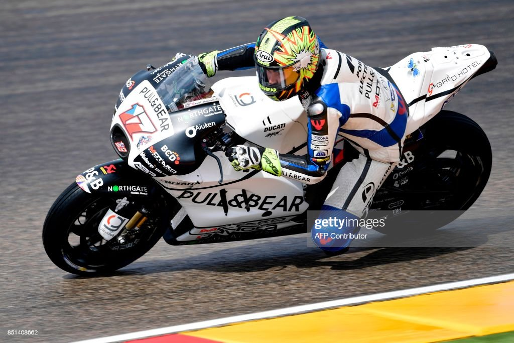 Pull and Bear Aspar Team's Czech rider Karel Abraham rides during the Moto GP second free pratice of the Moto Grand Prix of Aragon at the Motorland circuit in Alcaniz on September 22, 2017. /