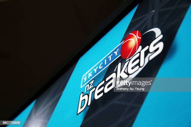 A pull up banner with the Breakers logo is seen prior to the round two NBL match between the New Zealand Breakers and the Sydney Kings at Spark Arena...