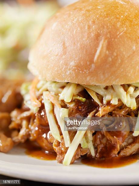 Pulled Pork Sandwich with Coleslaw and Baked Beans