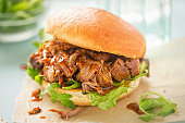 Pulled pork sweet bun with mixed lettuce leaves on blue background