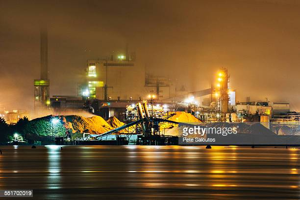 Pulp mill on Puget Sound waterfront at night, Tacoma, Washington State, USA
