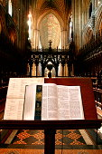 Pulpit with bible in church