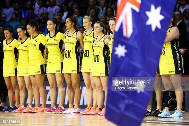 Pulse players look on while The Last Post is played in recognition of Anzac Day during the New Zealand Premiership match between the Pulse and the...