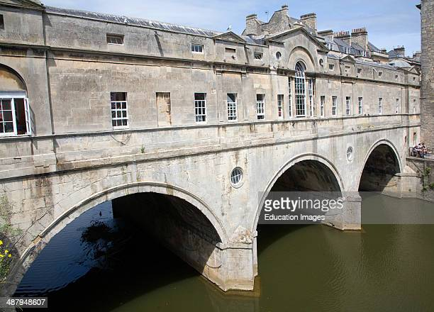 Pulteney Bridge spanning the River Avon in Bath England completed by 1774 designed Robert Adam in a Palladian style