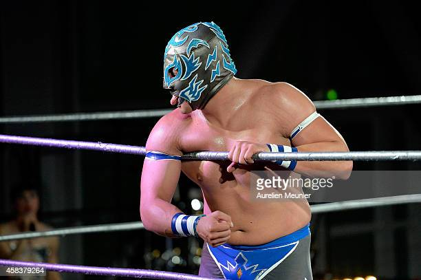 Puma King performs onstage during the EXOTICOS VS LUCHADORES Lucha Libre Show hosted by La Fondation Cartier in Paris on November 3 2014 in Paris...