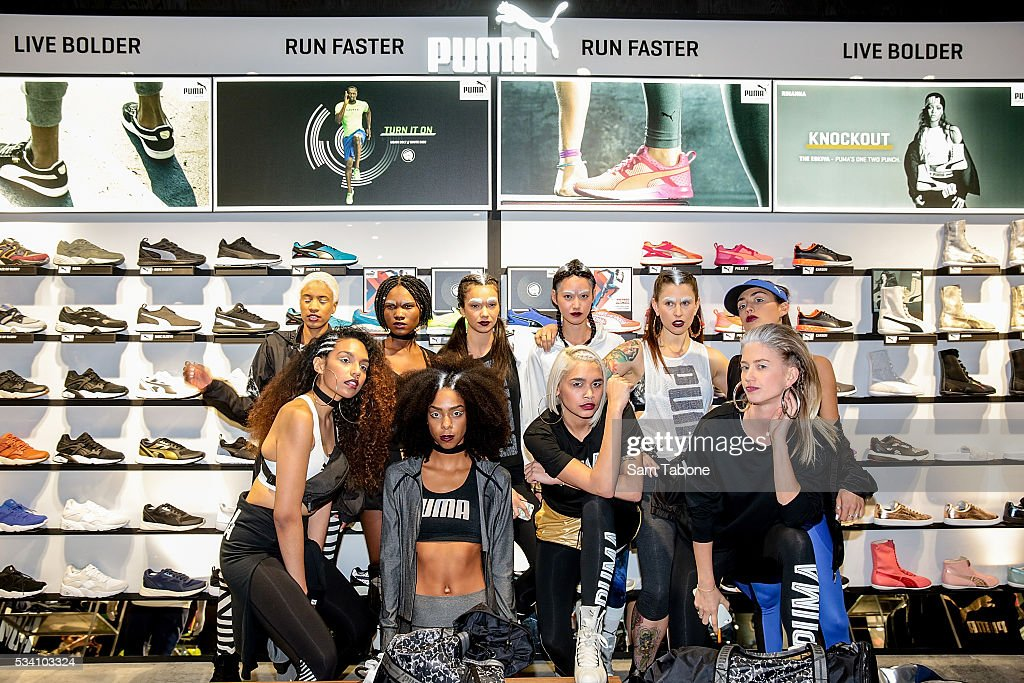 Puma models photo shoot around the Melbourne CBD before the Puma Flagship store launch at Melbourne Central on May 25, 2016 in Melbourne, Australia.