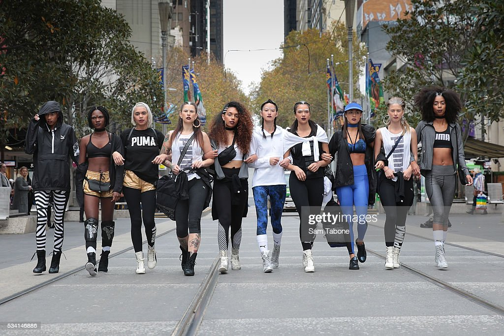 Puma Models Photo Shoot- around the Melbourne CBD before the Puma Flagship store launch at Melbourne Central on May 25, 2016 in Melbourne, Australia.