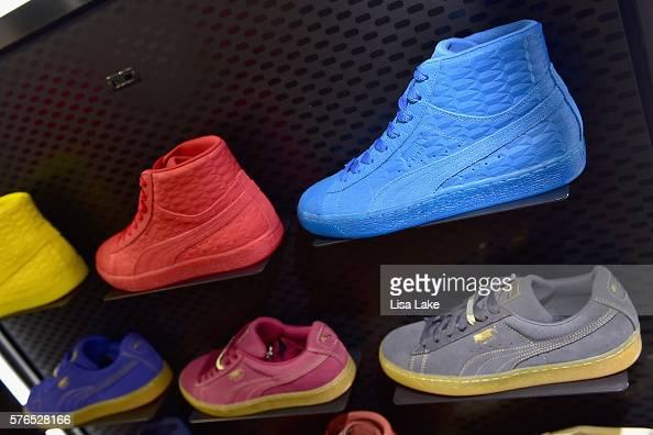 Puma sneakers on display at the Meek Mill debut of Dreamchasers x PUMA Collab at New Puma Lab powered by Foot Locker at Roosevelt Mall on July 15...