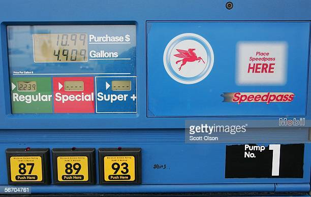 A pump displays gas prices at a Mobil station January 30 2006 in Plainfield Illinois Exxon Mobil posted a record $1071 billion profit for the fourth...
