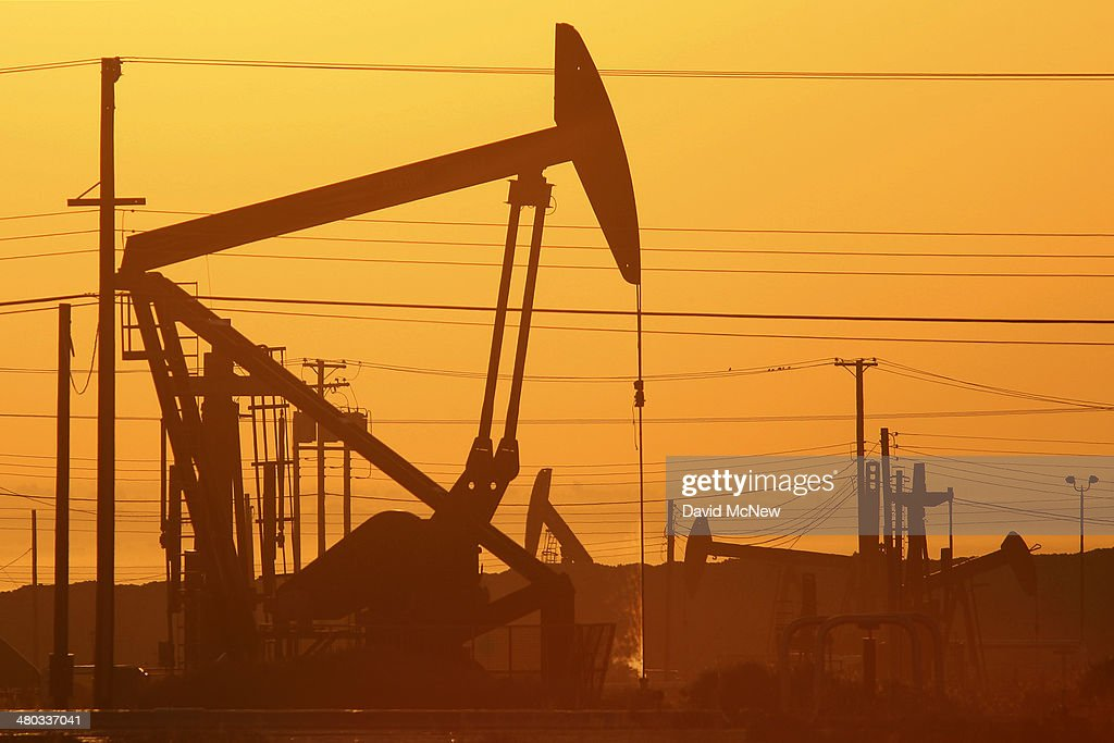 Pump jacks are seen at dawn in an oil field over the Monterey Shale formation where gas and oil extraction using hydraulic fracturing, or fracking, is on the verge of a boom on March 24, 2014 near Lost Hills, California. Critics of fracking in California cite concerns over water usage and possible chemical pollution of ground water sources as California farmers are forced to leave unprecedented expanses of fields fallow in one of the worst droughts in California history. Concerns also include the possibility of earthquakes triggered by the fracking process which injects water, sand and various chemicals under high pressure into the ground to break the rock to release oil and gas for extraction though a well. The 800-mile-long San Andreas Fault runs north and south on the western side of the Monterey Formation in the Central Valley and is thought to be the most dangerous fault in the nation. Proponents of the fracking boom saying that the expansion of petroleum extraction is good for the economy and security by developing more domestic energy sources and increasing gas and oil exports.
