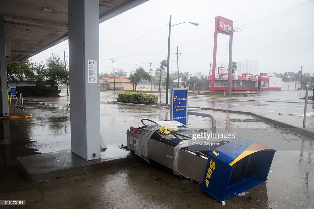 A pump station at a gas station sits on the ground after Hurricane Matthew passed through on October 7 2016 in Daytona Beach Florida Florida Georgia...
