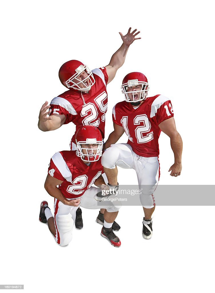Pumped Up Football Players with Clipping Path : Stock Photo
