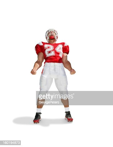 Pumped Up Running Back with Clipping Path : Stock Photo