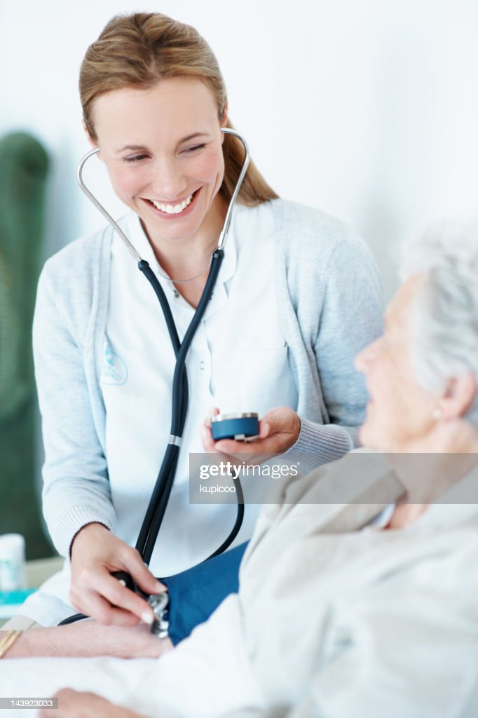 Pumping up her spirits! - Senior Care : Stock Photo