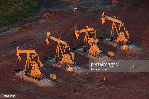 Pumpjacks are seen in an aerial view in the early morning hours of July 30 2013 near Watford City North Dakota North Dakota has seen a boom in oil...