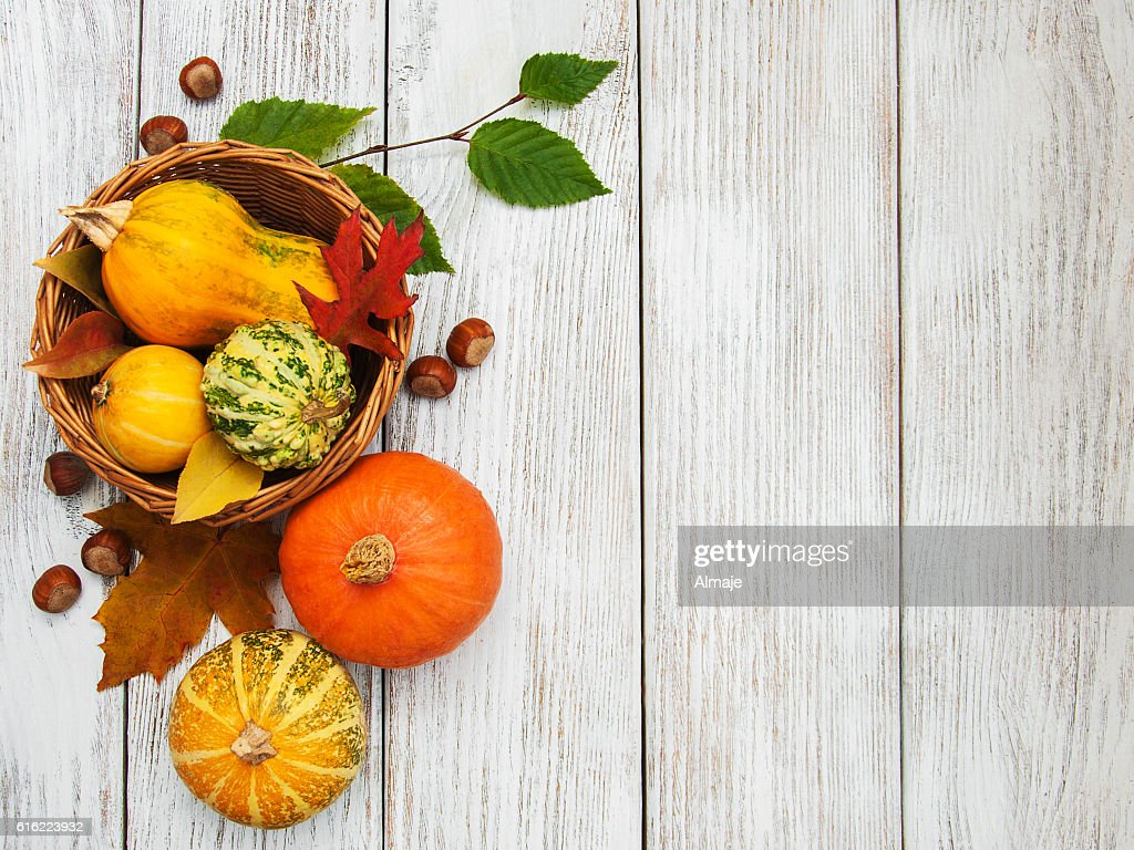 Pumpkin and leaves : Stock Photo