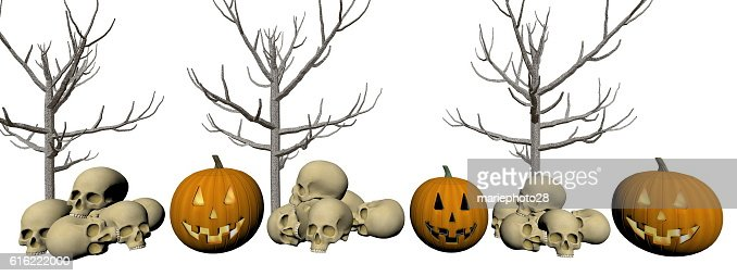 pumpkin and skull - 3d render : Stock Photo