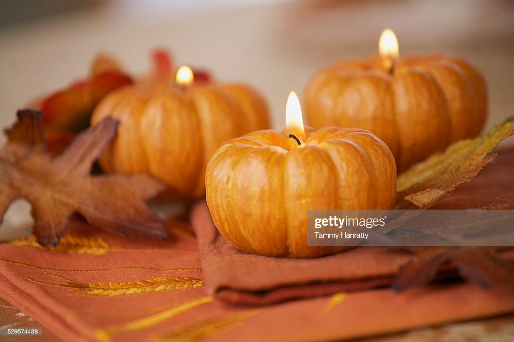 Pumpkin Candles : Stock Photo