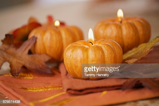 Pumpkin Candles : Foto de stock