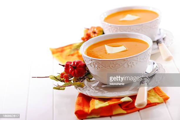 Pumpkin creme soup with melted butter