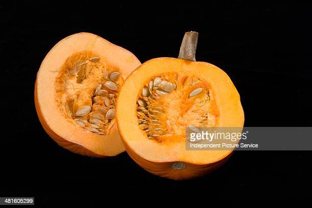 Pumpkin cut in half showing seeds