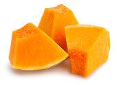 sliced pumpkin chunks isolated