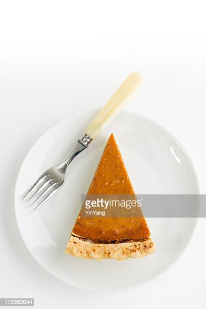 Pumpkin Pie Slice, Thanksgiving Baked Dessert with White Plate, Fork