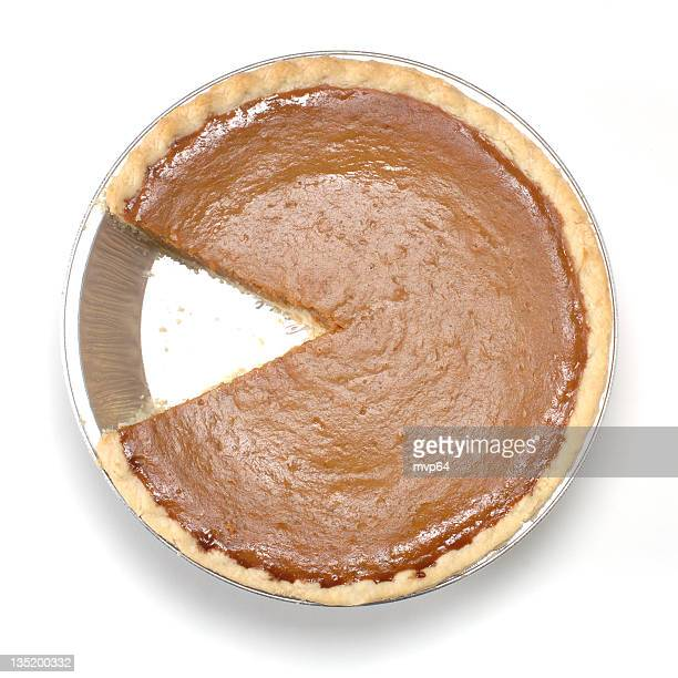 A pumpkin pie with one slice missing on the white background