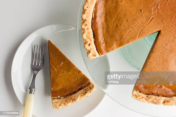 Pumpkin Pie with Sliced Piece on Plate for Thanksgiving Dessert