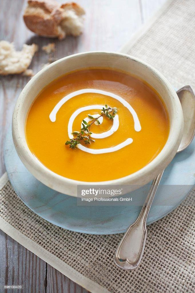 Pumpkin soup with a garnish