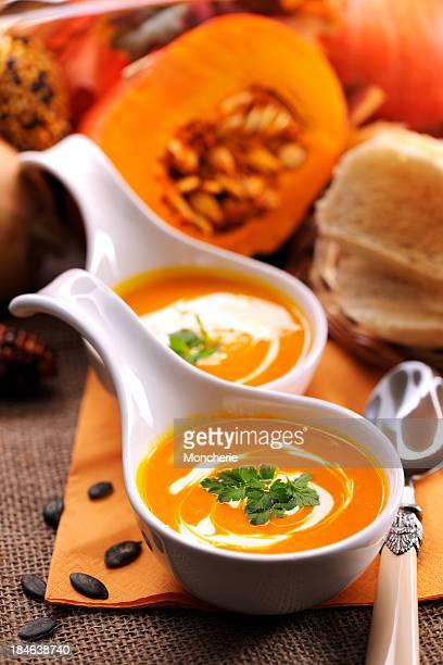 Pumpkin soup with creme fraiche