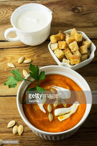 Pumpkin squash cream soup : Stock Photo