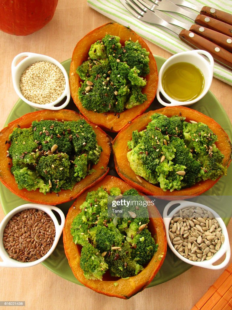 Pumpkin stuffed with broccoli : Foto stock