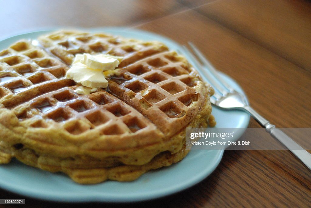 Pumpkin Waffles on Blue Plate : Photo