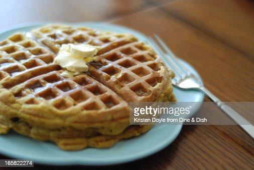 Pumpkin Waffles on Blue Plate