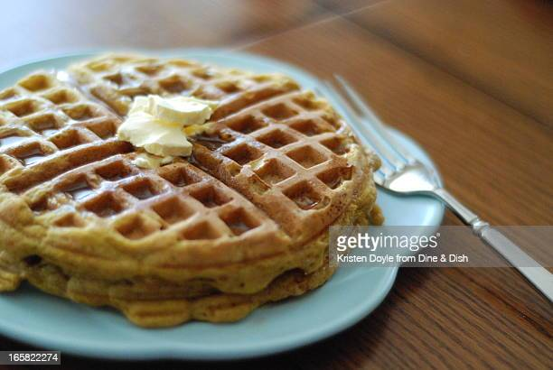 Pumpkin Waffles on Blue Plate