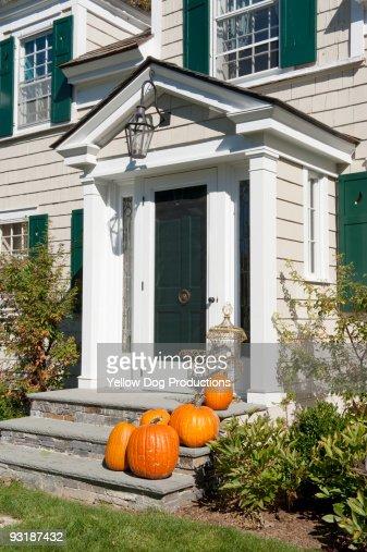 Pumpkins on Front Door Steps : Stock Photo