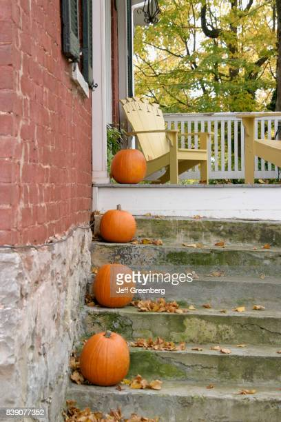 Pumpkins on the steps of an historic brick home in Lewisburg
