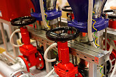 Pumps and valves for fire extinguishing system. Selective focus.