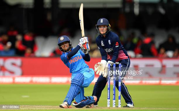 Punam Raut of India bats during the ICC Women's World Cup 2017 Final between England and India at Lord's Cricket Ground on July 23 2017 in London...