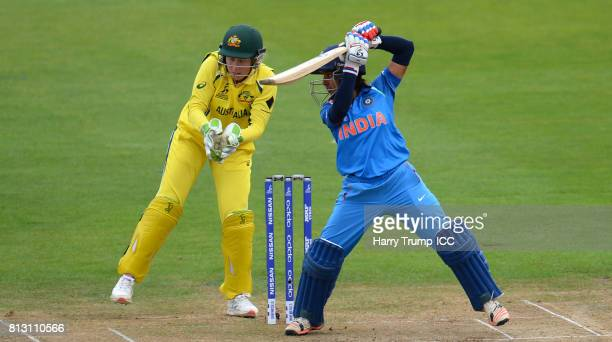 Punam Raut of India bats during the ICC Women's World Cup 2017 match between Australia and India at The County Ground on July 12 2017 in Bristol...