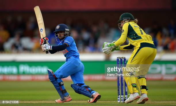 Punam Raut of India bats during the ICC Women's World Cup 2017 match between Australia and India at The 3aaa County Ground on July 20 2017 in Derby...