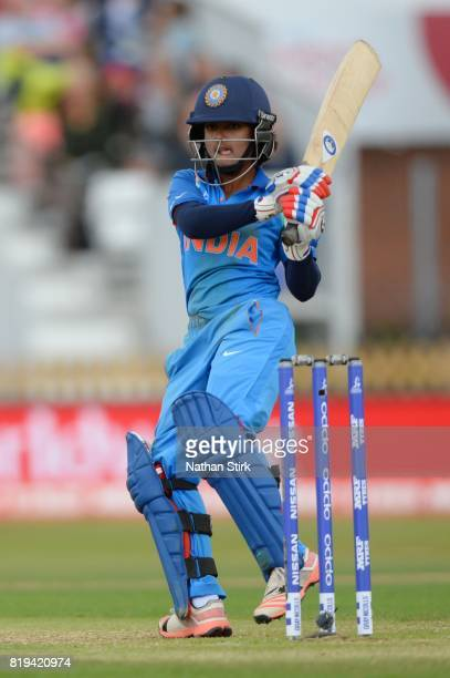 Punam Raut of India batting during the SemiFinal ICC Women's World Cup 2017 match between Australia and India at The 3aaa County Ground on July 20...