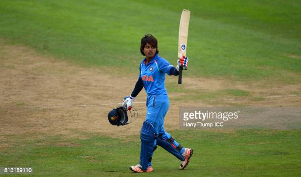 Punam Raut of India celebrates her century during the ICC Women's World Cup 2017 match between Australia and India at The County Ground on July 12...