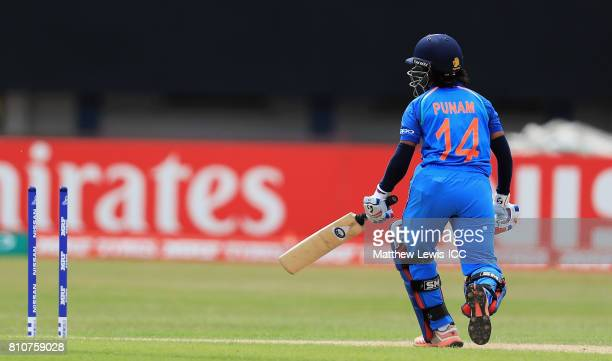 Punam Raut of India is bowled by Ayabonga Khaka of SoutH Africa during the ICC Women's World Cup 2017 match between South Africa and India at Grace...