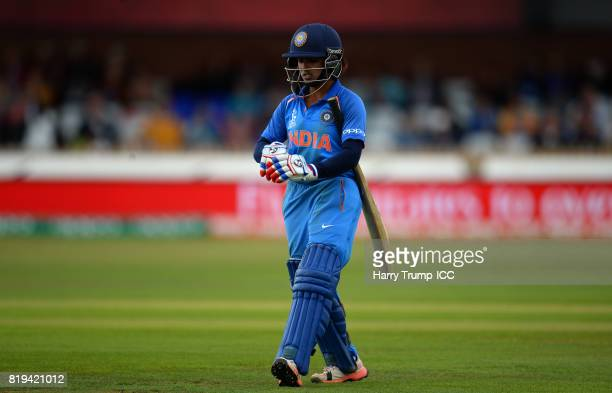 Punam Raut of India walks off after being dismissed during the ICC Women's World Cup 2017 match between Australia and India at The 3aaa County Ground...