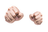 Punch fists isolated on white background